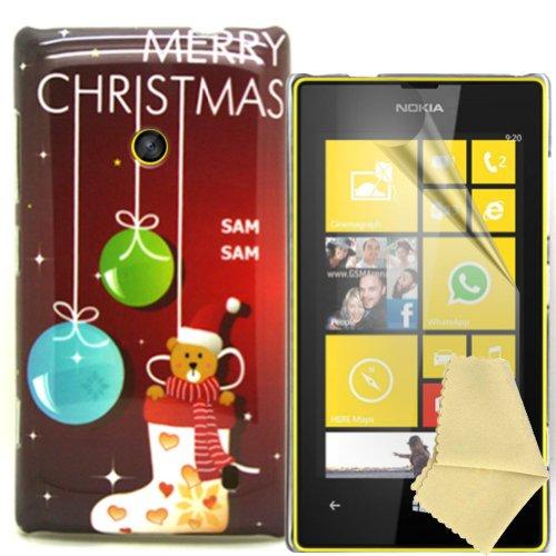 Accessory Master - Carcasa rígida con protector de pantalla para Nokia Lumia 520, diseño de Navidad, multicolor
