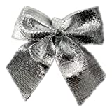 LUOEM Christmas Tree Bows Mini Bow Craft Silver Bows Pack of 24
