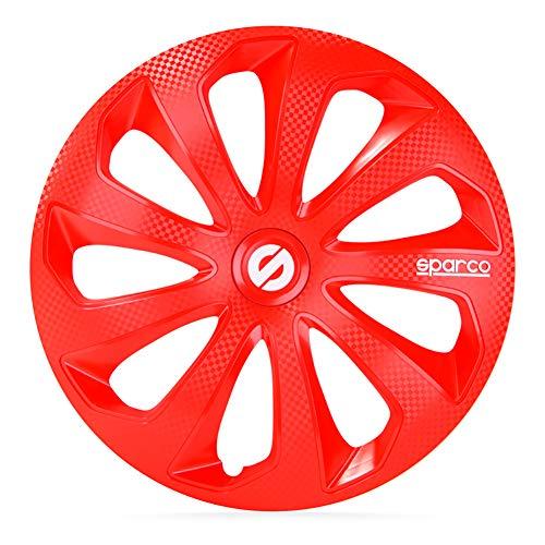 SPARCO SP 1674RDC Jeu d'enjoliveurs Sicilia 16-inch Rouge/carboné
