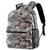 Mochila Rocket para estudiantes, mochila escolar, adorable bolsa de libros con bolsillos laterales para niño y adolescente, Watercolor Camouflage,