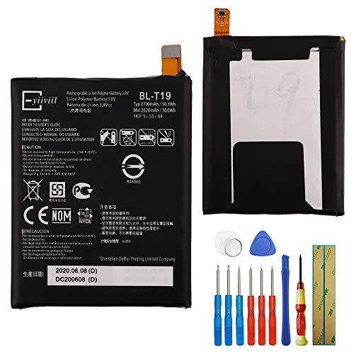 E-yiiviil BL-T19 Ion de Litio Replacement Batería Compatible para Google Nexus 5X h791 H790 2620 mAh 3.8 V with Instalación Tools
