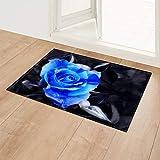 APOO Fußmatten für Eingangstür Rosenmatten im Flur Außenteppiche Anti-Rutsch-Schlafzimmerteppich Badteppiche Küchenmatten, Rose 06,40X60Cm