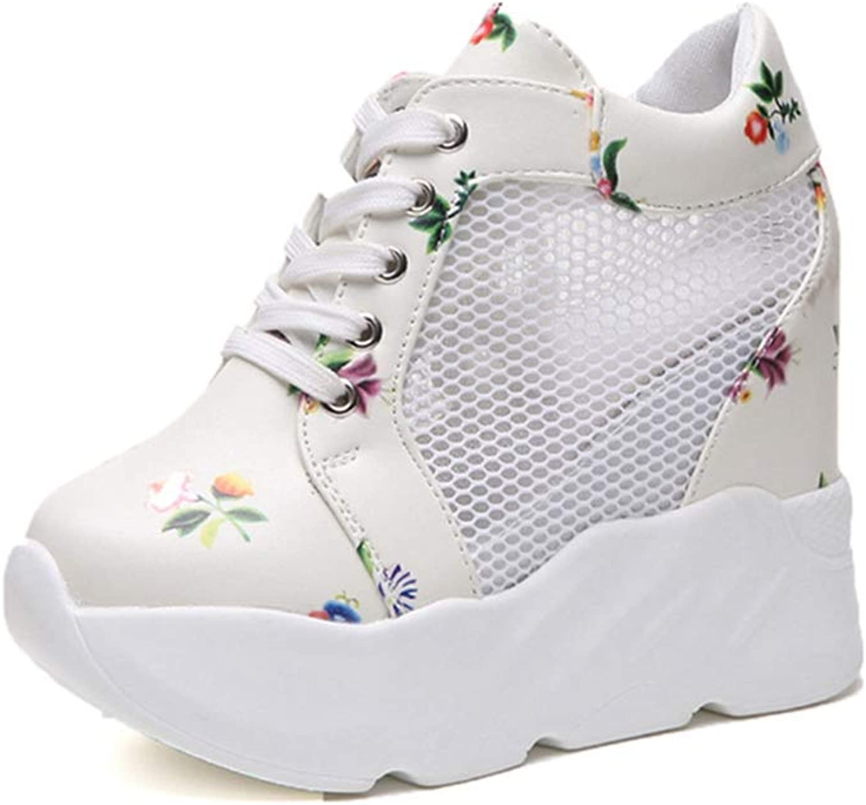 U-MAC Womens Wedge Sneakers Breathable Mesh High-Heeled shoes Fashion Pu Casual Wedge Increase Platform shoes