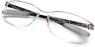 DOOViC Italy Design Fashion Reading Glasses for Women Men Printing Clear&Black Frames Readers with Case 3.00 Strength