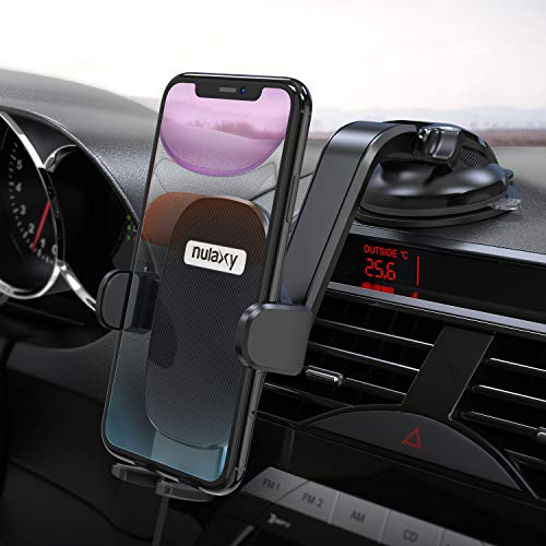 Nulaxy Phone Holder for Car, No Obstruction View Dashboard Windshield Car Phone Mount Strong Suction...