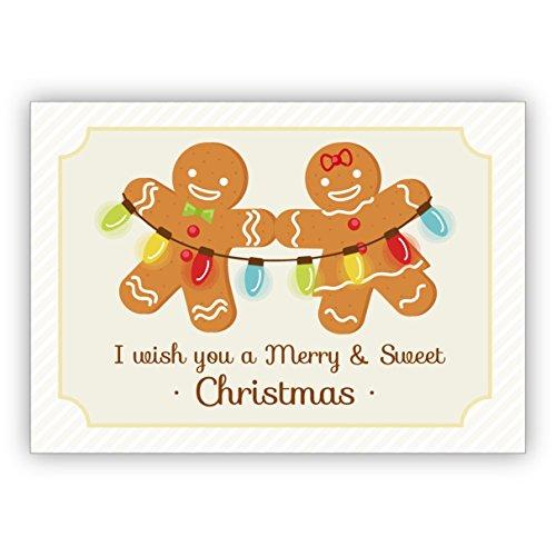 16 Stück Niedliche Lebkuchen Weihnachtskarte mit Lichterkette: I wish you a Merry & Sweet Christmas • weihnachtliches Grußkarten Set mit Umschlägen zu Weihnachten, Neujahr, Silvester