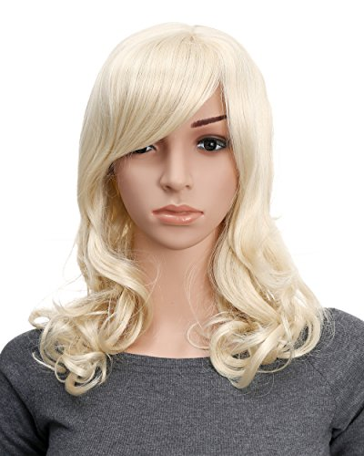 OneDor Full Head Beautiful Long Curly Wave Stunning Wig Charming Curly Costume Wigs with Fringe (613#-Pale Blond)