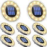 ソーラーライト 屋外 埋め込み式 水陸両用 ガーデンライト 8個セット IP68防水 太陽光パネル充電 防犯対策 光センサー 12LED 高輝度 自動点灯/消灯 玄関先/庭/芝生/車道/歩道 (電球色)