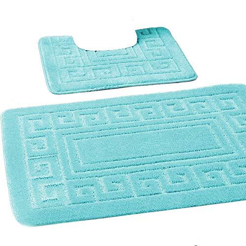 Tappetino da bagno set 2 pc antiscivolo gomma tappetino piedi toilette bagno greche tappeto nuovo