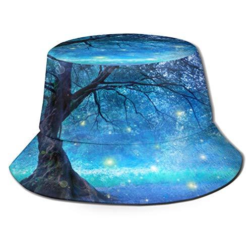 PUIO Sombrero de Pesca,El árbol de Hadas en Mystic Starlight Forest,Senderismo para Hombres y Mujeres al Aire Libre Sombrero de Cubo Sombrero para el Sol