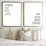 Moon of my Life Quotes Canvas Art Posters and Prints My Sun and Stars Above Bed Decor Wedding Sign Painting,50x70cmx2Pcs(no frame)