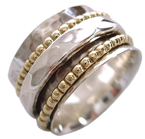 "Energy Stone ""CLARITY"" Ring 1 Hammered 2 Beaded Spinners (Sku# UK01) (9.5)"