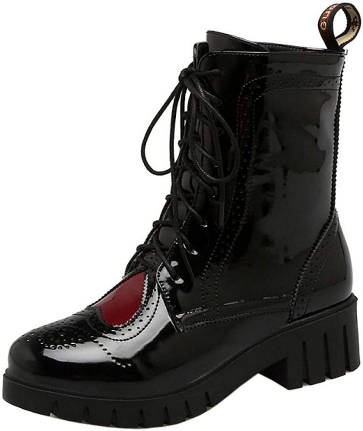 Unm Women Casual Flat Lace-up Booties shoes Martin Ankle Boots