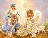 AGjDF HD Viejo y angelitoDIY Pintura de por números-Lienzo preimpreso-Valentín Decoración Pintura de DIY por Números Bricolaje Kit de Lona para Adultos_40x50cm