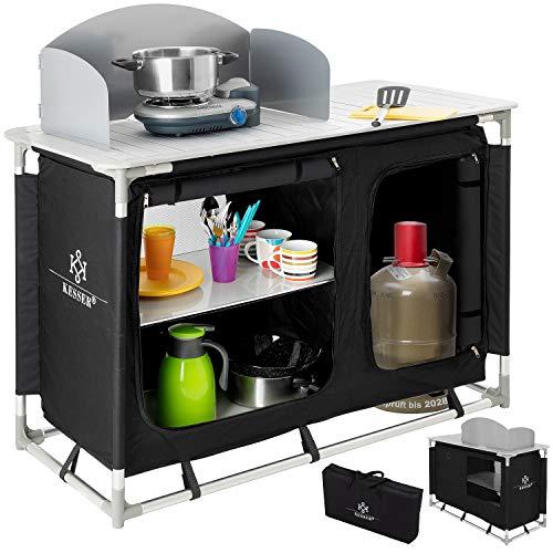 KESSER® Campingschrank, Campingküche mit Aluminiumgestell, Spritzschutz und Tragetasche Kocherschrank für Camping, Campingmöbel, Outdoor, schwarz/grau Typ F4