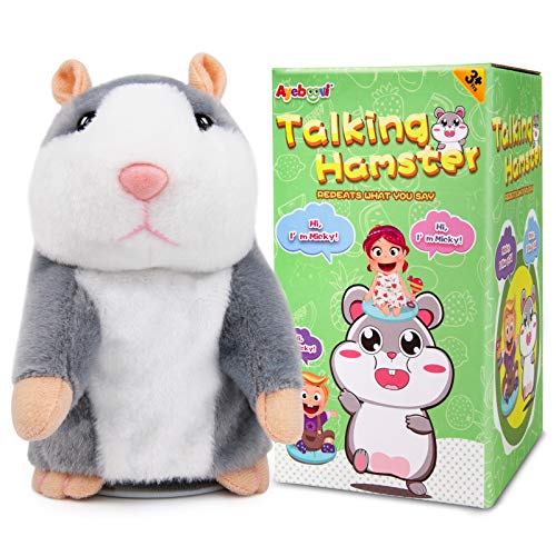 Ayeboovi Talking Hamster Repeats What You Say Autism Toy Plush Hamster Talking Toy Gift for 3 4 5 Years Old Boys Girls
