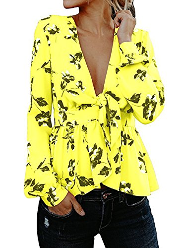 Sophieer Yellow Blouses for Women Surplice Top with Front Tie Party Tops Yellow S