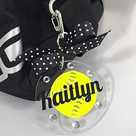 Softball Neon Yellow Bag Tag on Clear Acrylic Personalized with Your Name and Colors