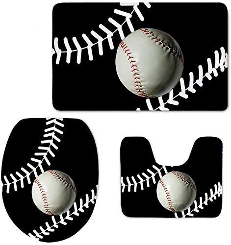 Bernice Winifred 3 PCS Badezimmerteppichmatten Sport-Baseball-Drucke rutschfeste Badematte/Deckel WC-Abdeckung/Kontur Teppich-Baseball2-