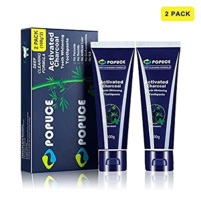 Activated Charcoal Teeth Whitening Toothpaste, Appropriate Organic Natural Bamboo Carbon Powder for Optimum Black Foam, Removes Bad Breath and Coffee or Wine Stains, 2 Pack