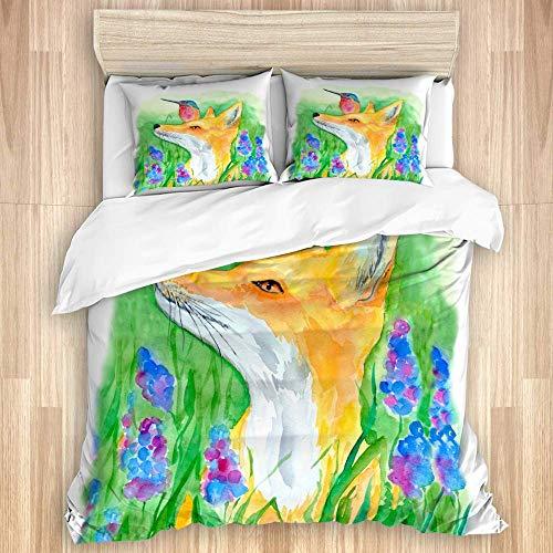 Juego de funda nórdica de 3 piezas, acuarela zorro rojo y colibrí sentado en la hierba flores moradas y pintura de bosque de animales zorro, colcha con cremallera para dormitorio con 2 fundas de almoh