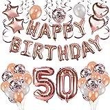 HOWAF Rose Gold 50. Geburtstag deko für Frau und Männ, 59 Stück Happy Birthday Girlande Banner...