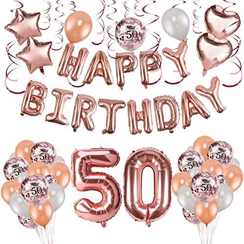 HOWAF Decoración de cumpleaños 50 en Oro Rosa para Mujeres, 59 Piezas Feliz cumpleaños Decoración Globos Guirnalda Banner 50 Años Globos de Confeti y Estrella Corazon Globos de Aluminio