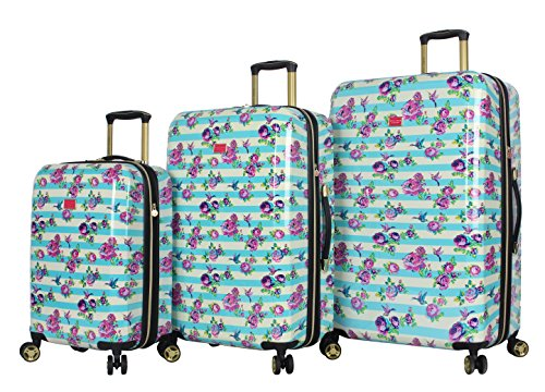 Betsey Johnson Designer Luggage - Expandable 3 Piece Hardside Lightweight Spinner Suitcase Set - Travel Set includes 20-Inch Carry On, 26 inch & 30-Inch Checked Suitcase (Stripe Floral Hummingbird)