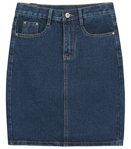 chouyatou Women's Basic Five-Pocket Rugged Wear Denim Skirt with Slit (XX-Large, Blue)