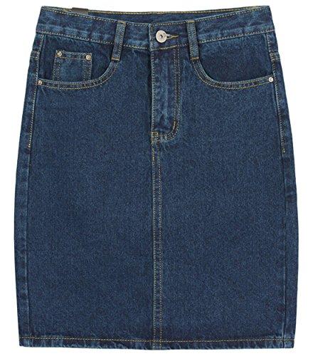 chouyatou Women's Basic Five-Pocket Rugged Wear Denim Skirt with Slit (Medium, Blue)