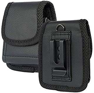 Case for RAZR Flip Phone, Nakedcellphone Black Vegan Leather Vertical Pouch [with Belt Loop, Metal Clip, Magnetic Closure]...