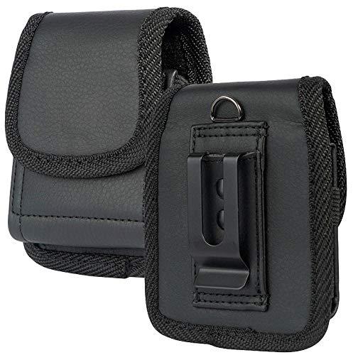 Case for Galaxy Z Flip Phone, Nakedcellphone Black Vegan Leather Vertical Pouch [with Belt Loop, Metal Clip, Magnetic Closure] for Samsung Z Flip 5G, Z Flip 3 (SM-F700, SM-F707, SM-F711)