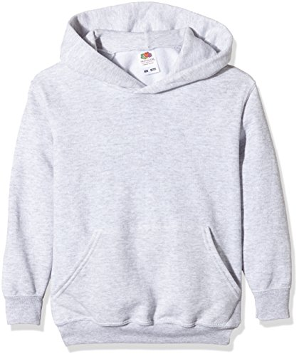 Fruit of the Loom Jungen Kapuzenpullover Ss026b, Grau, L
