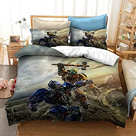 Siyarar Boys Bedding Sets Full Size Transformers for Teens Optimus Prime Comforter Cover 3 Pieces Including 1 Duvet Cover and 2 Pillowcases T2