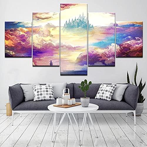 Composición De 5 Cuadros De Madera para Pared Nubes De Colores Impresión Artística Imagen Gráfica Decoracion De Pared Abstracto 150 * 80Cm con Marco