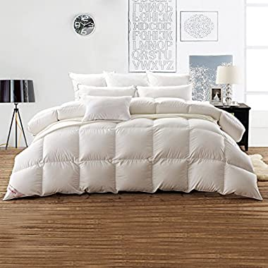 SNOWMAN White Goose Down Comforter Queen Size 100% Cotton Shell Down Proof White Hypo-allergenic