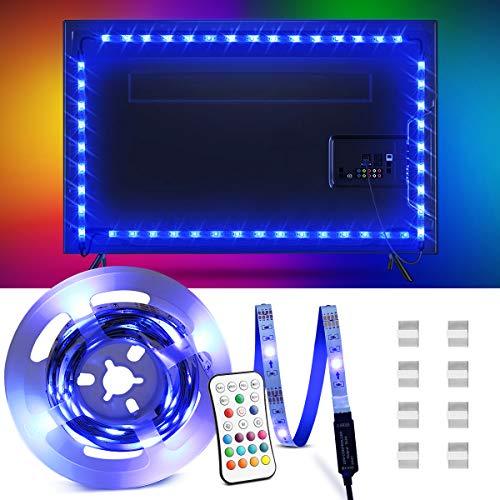 OMERIL LED TV Retroilluminazione, 2.2M Retroilluminazione LED TV con 16 Colori e 4 modalità adatto a TV da 40-60 Pollici, Striscia LED RGB alimentata USB con Telecomando IR per PC Monitor, Decorativa