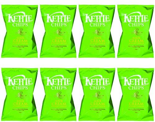 Kettle Chips Patatas Fritas con Queso y Cebolla - Paquete de 8 x 150 gr - Total: 1200 gr