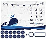 "Baby Monthly Milestone Blanket with 12 Stickers, Large 60""x40"" Infant Month Blankets Boy 