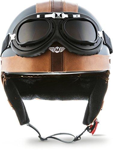 "Moto Helmets® D22-Set ""Vintage Black"" · Brain-Cap · Halbschale Jet-Helm Motorrad-Helm Roller-Helm Scooter-Helm Bobber Mofa-Helm Chopper Retro Cruiser Vintage Pilot Biker Helmet Brille · M (57-58cm)"