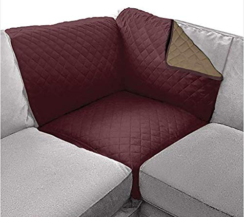 Sofa Shield Patented Corner Sectional Slipcover, Reversible Tear Resistant Soft Quilted Microfiber, 30x30 Inch, Durable Furniture Stain Protector with Straps, Washable Cover for Dog, Kid, Burgundy Tan