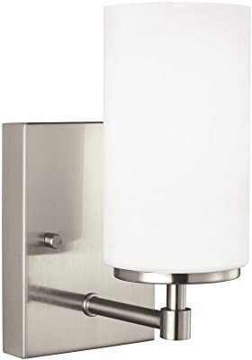 Sea Gull Lighting 4124601EN3-962 Alturas Contemporary One Light Wall/Bath Sconce Vanity Style Fixture, 1, Brushed Nickel Finish