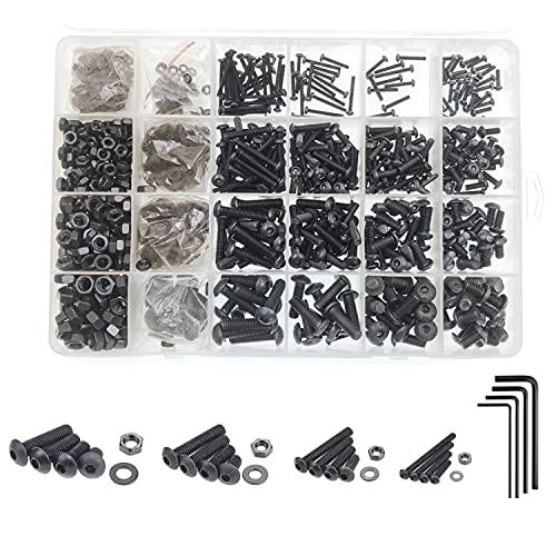 JZK Juego de tornillos y tuercas hexagonales M2 M3 M4 M5 de acero de aleación de carbono negro con caja de almacenamiento, 304 tornillos de acero inoxidable tuercas de juntas planas, juego surtido