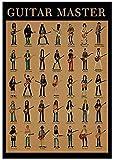 YYTTLL Posters, Guitar Master Wall Art Canvas Pinturas Guitar Playing Poster Guitar Chords Pictures Sala de Estar Dormitorio Sala de música Decoración del hogar 40X60Cm