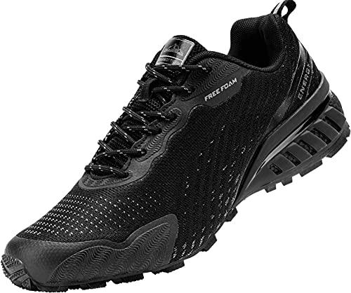 MHXDU Zapatillas de Deporte para Hombre Zapatillas de Trail Ligeras Zapatillas Deportivas Antideslizantes Transpirables Zapatillas Deportivas al Aire Libre(47 Negro)
