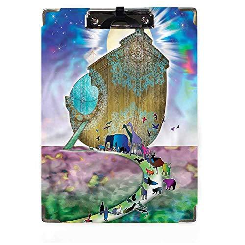 Mystic Decor - Appunti in truciolato, a basso profilo, con clip a forma di arca di Noè, coppia di animali, personalizzati, in cartoncino, con clip a basso profilo per carta formato lettera