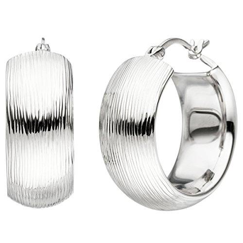 JOBO Creolen breit 925 Sterling Silber mit Struktur Ohrringe Silbercreolen