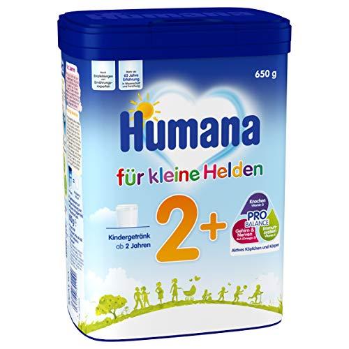 Humana Kindergetränk 2+, Milchpulver zum Anrühren, enthält Calcium, Vitamin A & D, mit altersgerechtem Eiweißgehalt, ab dem 2. Jahr, 650g