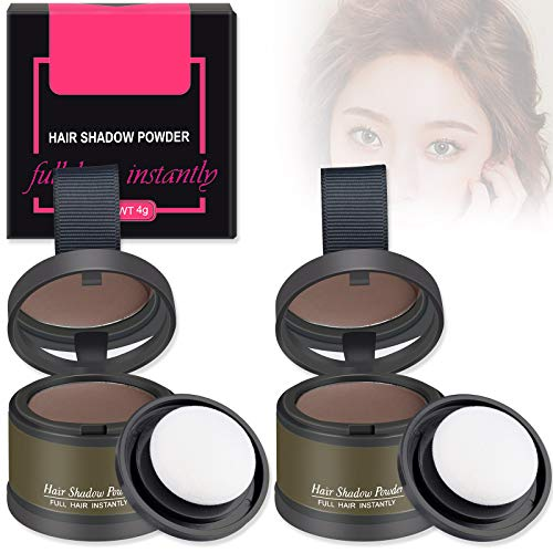 FREEORR 2Pcs Hairline Powder Magical Instantly Hair Line Shadow Quick Cover Hair Root Concealer with Puff Touch, Root Cover Up for Thinning Hair, Waterproof, Non-sticky(#Brown)