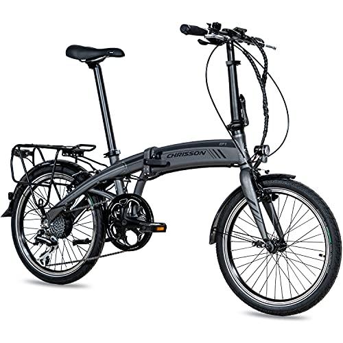 CHRISSON 20 Zoll E-Bike City Klapprad EF1 grau - E-Faltrad mit Ananda Nabenmotor 250W, 36V und 40 Nm, Pedelec Faltrad für Damen und Herren, praktisches Elektro Klappfahrrad, perfekt für die Stadt